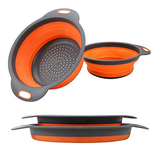 Collapsible Colander【2019 New Version】2 Collapsible Set, Learja Food-Grade Silicone kitchen Strainer Space-Saver Folding Strainer Colander, Sizes 8 inches - 2 Quart, and 9.5 inches - 3 quart. (orange)