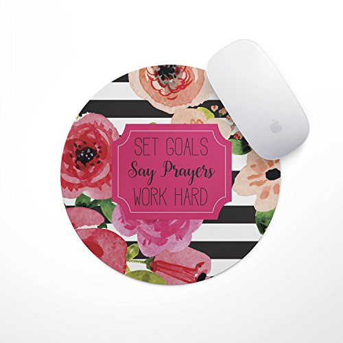 Set Goals Say Prayers Work Hard Floral Mouse Pad | Neoprene Inspirational Quote Mousepad, Office Space Decor, Home Office, Computer Accessories