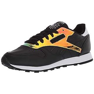 Reebok womens Classic Leather Sneaker, Black/White/Black, 10 US