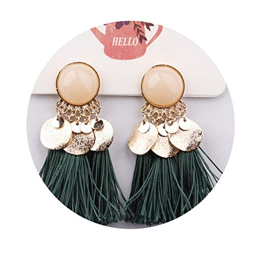 Ethnic Bohemia Women Dangle Drop Earrings Summer Round Resin Tassel Earrings for Women Fashion Jewelr for $<!--$15.88-->
