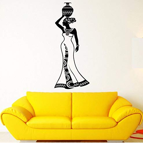 LSFHB Wall Decal Girl India Africa Woman Tradition History Vinyl Stickers Removable Vinyl Wall Stickers Home Decor Living Room Mural 20X57Cm ()