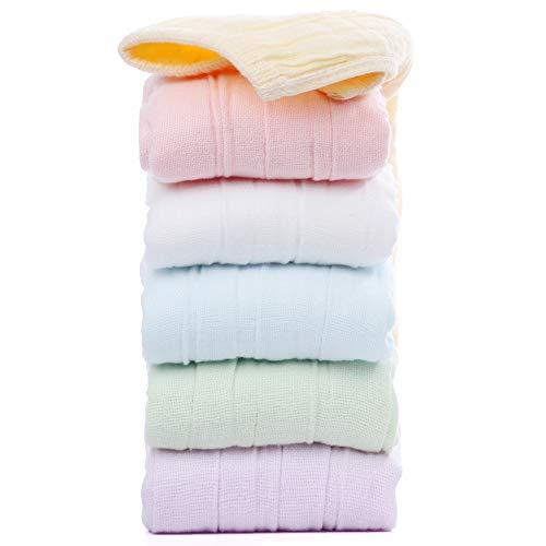 Flexible Baby Muslin Washcloths Towel Set 6 Packs 6 Colors 6 Layers Size 10'' x 10'' for Infant Newborn Babies Toddler Kids Boys Girls,100% Cotton Organic and Antibacterial - Perfect for Baby Registry