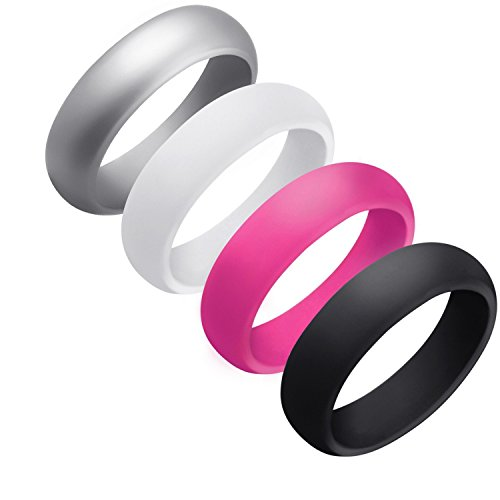 Silicone Wedding Ring for Men, 4 Packs Singles Silicone Rubber Wedding Bands - Random Colors