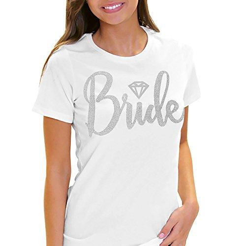Bride With Diamond Motif Rhinestone T-Shirt – Wedding, Engagement & Bachelorette Party Tee Shirt – Small White