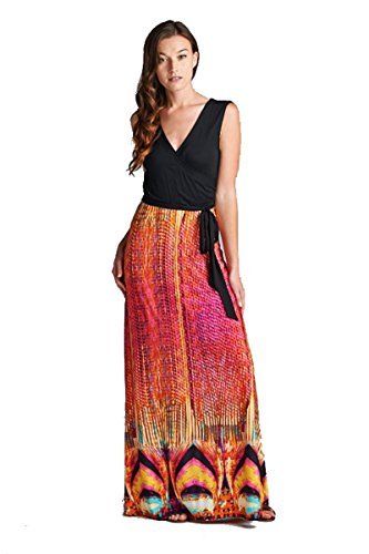 On Trend Women's Claire Bohemian Print Sleeveless Long Maxi Dress (Large, Pink)