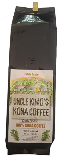 Uncle Kimo's Kona Coffee - 100% Real Fancy Hawaiian Beans, Not a Blend - Kona Ground - Gourmet Dark Roast - Grown on Real Hawaii Volcanic Muddy and Freshly Roasted