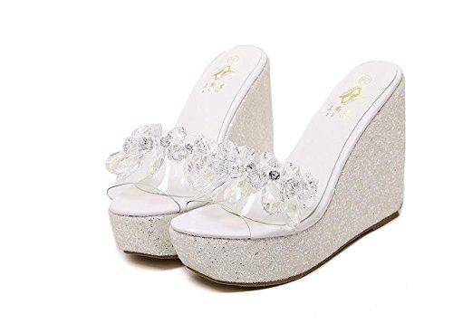 Grueso Plataforma Alto Fondo Sandalias Zapatillas De Las Lvyuan Rhinestones Talón Verano White Impermeable Moda Mujeres Wedge Heel Confort Casual vPwT67Tq