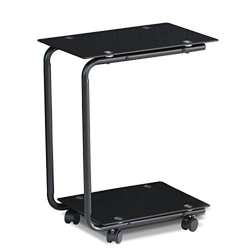 Furinno FTD0412G Kaca U-Shaped Glass Laptop Desk, Black