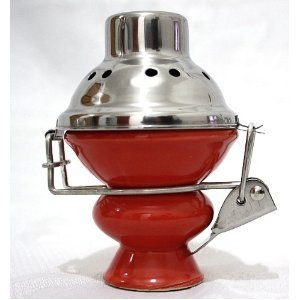 Hookah Shisha Bowl and Stainless Steel Wind Cover - RED Ceramic Bowl and Metal Screen for Hooka Nargila by Hookah4sale Bowls