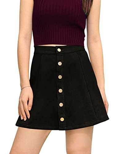 (Allegra K Women's Faux Suede Single Breasted Front Button Down Short Mini A-Line Skirt M Black)