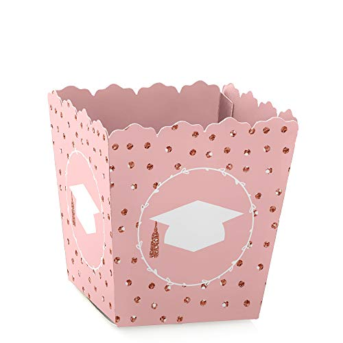 Rose Gold Grad - Party Mini Favor Boxes - Graduation Party Treat Candy Boxes - Set of 12 ()