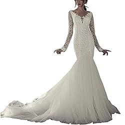 Sequin Mermaid Long Sleeve Lace Wedding Dress
