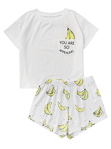 DIDK Women's Cute Cartoon Print Tee and Shorts Pajama Set White Banana -