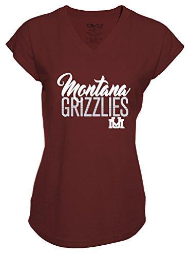 Ncaa Montana Grizzlies Ladies Tri Blend V Neck T Shirt  Medium  Maroon