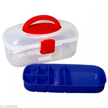 Rayher Sorting Box with Carry Handle Plus Inset, Plastic, Multi-Colour, 27.8 x 12.1 x 13.1 cm by Rayher