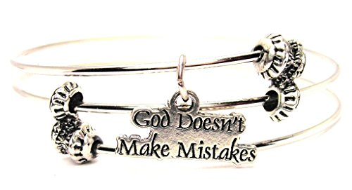 ChubbyChicoCharms God Doesn't Make Mistakes Expandable Wire Triple Style Bangle Bracelet, 2.5