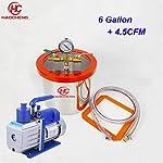 haocheng 6.2 Gal (24L) Stainless Vacuum Chamber with 5CFM 110V Vacuum Pump,28cm40cm Degassing Chamber