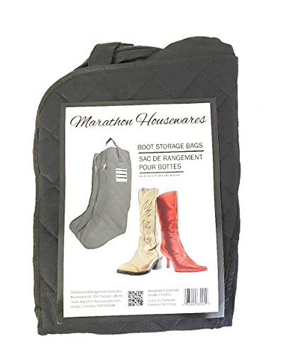 Marathon Housewares FW030002BK Quilted Boot Storage & Protector with Double Compartment and Tag, Black