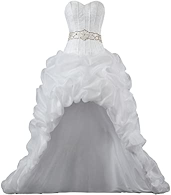 6456f1a5d9 Unbranded**** Womens Strapless Organza High Low Wedding Dresses Bride  K041-MFN ...