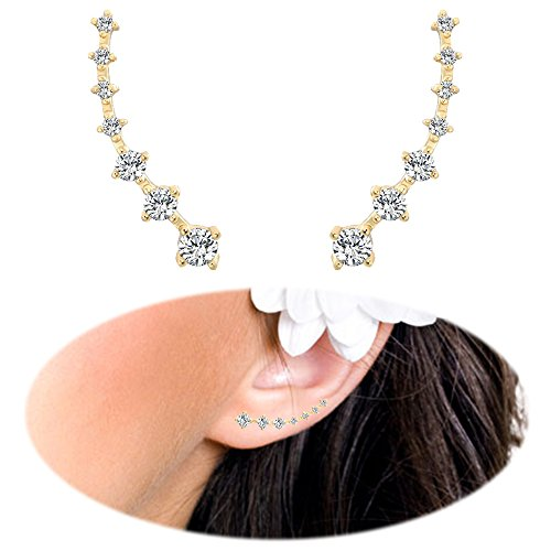Ear Crawler Earrings - Fashion Stainless Steel CZ Ear Crawlers Climbers - Women Sweep Up Hoop Ear Cuff Pin Vine Wrap Studs Earrings - 7 Stars Cubic Zirconia Crystal Clip On Stud Jewelry with Fish Hook