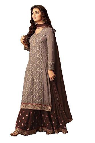 ziya Indian/Pakistani Ethnic wear Georgette Plaazo Salwar Kameez (Coffee, ()