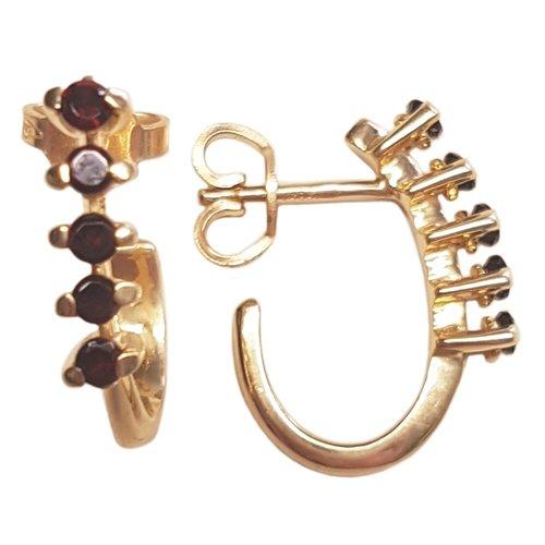 Clearance Boucles d'Oreilles Femme en Or 14 carats Jaune avec Grenat, 3.7 Grammes