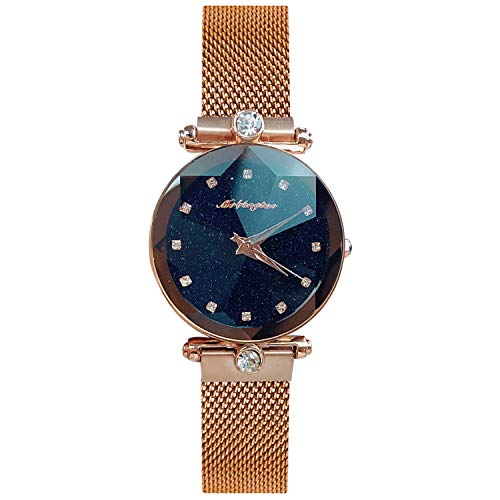 RORIOS Fashion Analogue Quartz Ladies Watches Magnetic Mesh Band Starry Sky Dial Simulated Diamond Wrist Watches