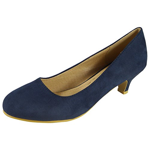 Womens Ladies Faux Suede Mid Low Kitten Heel Casual Work Posh Court Shoes Size 3-8 Navy Suede RP6AGyg2Ad