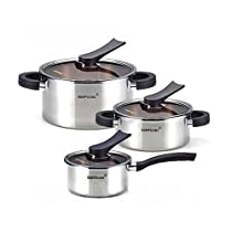 Happycall 3-ply Stainless Cookware 6pcs Kitchen Pot Set Sockpot