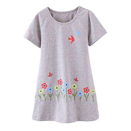 DGAGA Little Girls Cute Cotton Floral Nightgown Sleepwear Pajamas Sleep Dresses Gray 9-10 Years /150cm