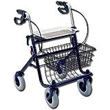 Deambulatore da passeggio in acciao, con 4 ruote, cestello, vassoio e freno, colore blu, altezza regolabile