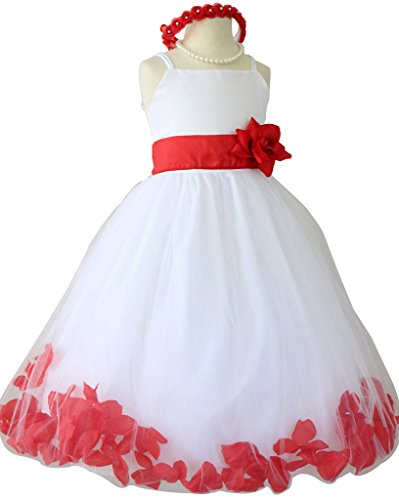 Flower Girl Dress Rose Petal Paperio Easter Wedding Girl White (Baby - 14) Red Cherry XL