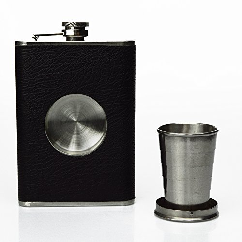 Rockin Gear Shot Flask - Stainless Steel 8 oz Hip Flask, Built-in Collapsible 2 Oz. Shot Glass & Flask Funnel - Shots on the Go! -