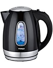 Todo 1.7L Stainless Steel Cordless Kettle 2200W Blue Led Light Electric Water Jug