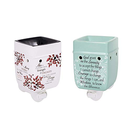 Candle Sister Prayer - 2 Pc Set Proverbs 31 Woman Serenity Prayer Ceramic Stone Plug-in Candle Warmers