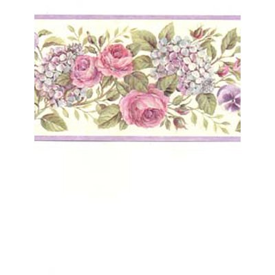 Blooming Purple Roses on Vine Floral Wallpaper Border Retro Design, Roll 15' x 6.75''