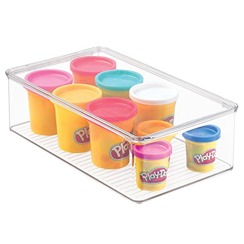 mDesign Plastic Toy Storage Bin with Hinged Lid - Kid/Child Playroom Organizer for Toys - Cars, Dolls, Baby Doll Clothes, Puzzles, Army Men, Building Blocks - BPA Free, Stackable, 3.7 in High, Clear
