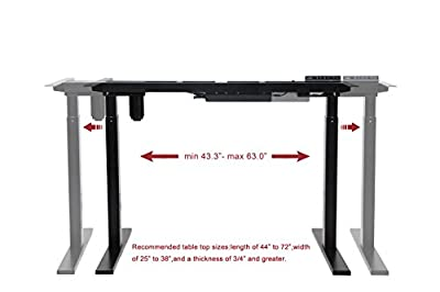 NKV OFFICE Ergonomic Electric Adjustable Height Standing Desk Frame w/ Dual Motor Stand Up Desk w/ Automatic Smart Keypad Without Table top