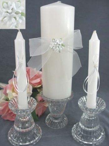 (Porcelain Stephanotis Bouquet Wedding Unity Candle Set: Candle Color: Ivory)