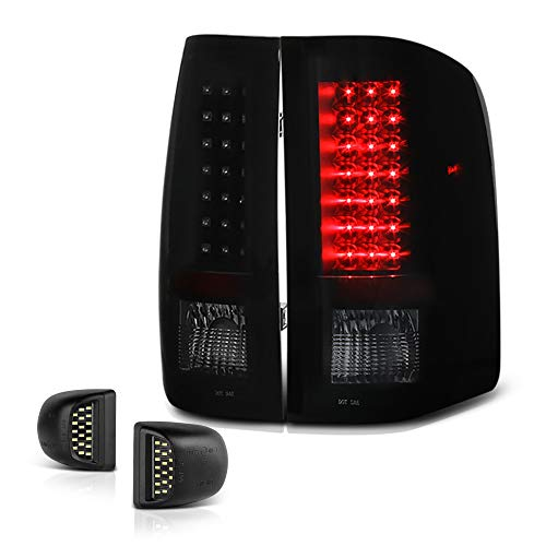 VIPMOTOZ Black Smoke LED Tail Light + Full-LED License Plate Lamp Assembly Replacement Bundle For 2007-2013 Chevy Silverado 1500 2500HD 3500HD Pickup ()