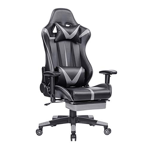 Blue Whale Gaming Chair PC Computer Chair with Footrest Ergonomic Video Game Chair High Back Racing Gamer Chair Reclining Leather Office Chair with Headrest and Lumbar Support Grey
