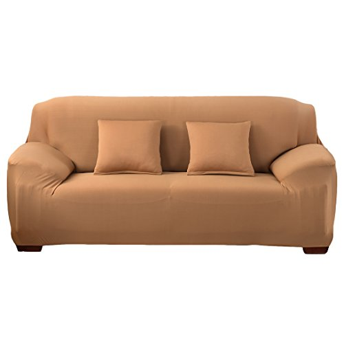 - ANJUREN Polyester Spandex Fabric 1-Piece Stretch Slipcover for Chair Loveseat Sofa Without Pillow (Sofa, Camel)
