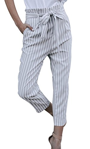 MNLYBABY Womens Casual Belted Striped High Waisted Loose Long Pants with Pocket Size S(US 2-4) (Grey) (Fashion Belt Waisted)
