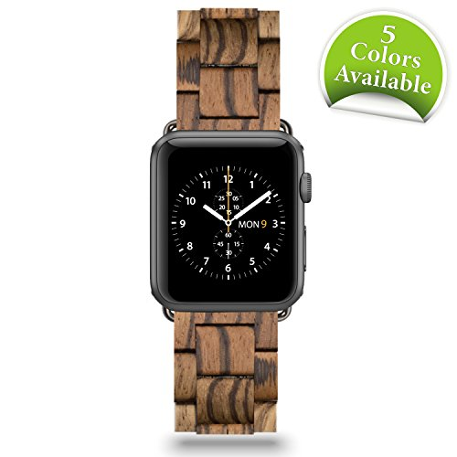 42mm Apple Watch Wooden Replacement Band. Handcrafted Wood Design by Reclaimed By Nature. Compatible with iWatch Series 1, 2, 3, Nike (Sport), Limited and Hermes' (Natura Wood Series)