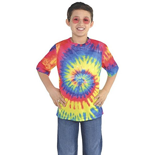 Amscan Groovy 60's Tie Dye T-Shirt Party Costume, Fabric, Standard Children's Size -