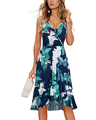 (STYLEWORD Women's Floral Elegant Spaghetti Straps V Neck Sleeveless Bodycon Party Summer Dresses(Floral01,S))