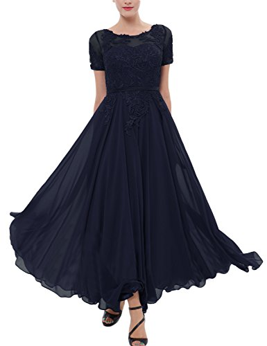 LMBRIDAL Women's Chiffon Tea Length Mother of the Bride Dress with Sleeves Navy Blue 18W