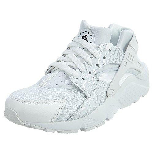 Nike Youth Huarache Run Mesh Trainers Summit White Metallic Silver