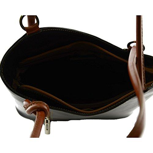 Bolso Al Hombro Para Mujer Color Negro Cognac - Peleteria Echa En Italia - Bolso Mujer