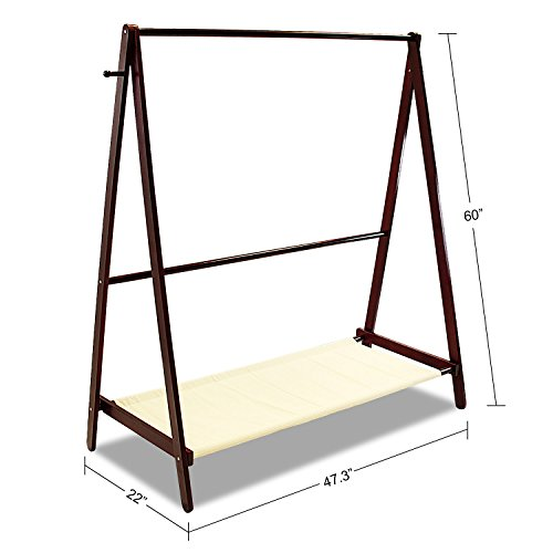 Jerry & Maggie - Garment Rack Cloth Rack Natural Sturdy Wood Coat Rack Clothes Hanging System Laundry Drying With Bottom Shelves | Foldable / Collapsible / Luxury by Jerry & Maggie (Image #1)